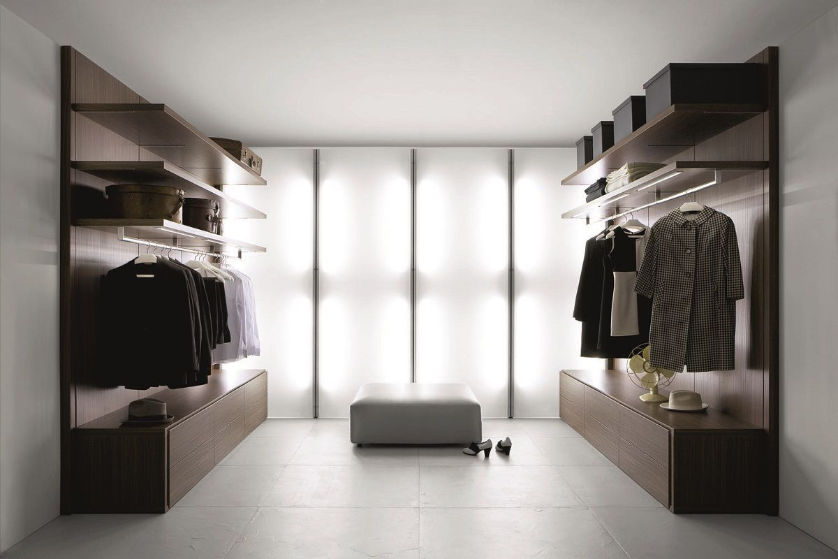 Modular walk-in wardrobe / contemporary / aluminum / glass