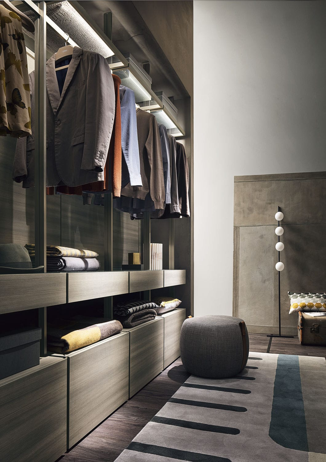 Corner walk-in wardrobe / modular / contemporary / wooden